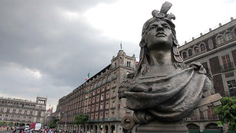 Mexico City, Mexico-August 2014: FULL SHOT. Moctezuma's Statue stock footage