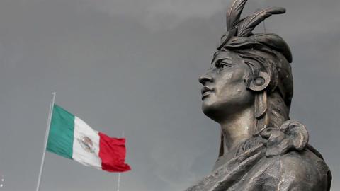 Mexico City, Mexico-August 2014: MEDIUM SHOT. Moctezuma's Statue Live Action