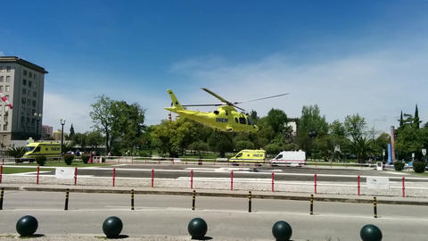Emergency Helicopter taking off , Hospital Heliport Live Action