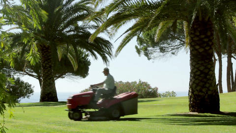 Ride On Lawn Mower B stock footage