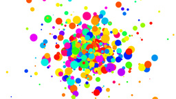 Fountain of multicolored dots on white background Animation