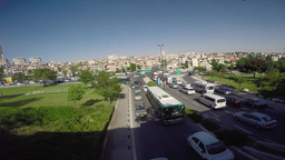 4K Time Lapse daily traffic jam Jerusalem near the Saccer Park Footage