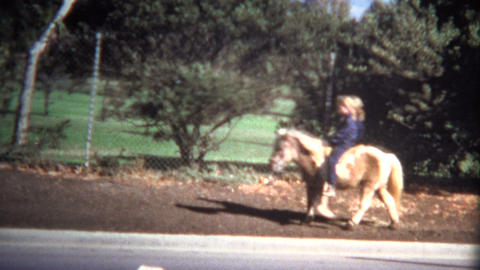 (Super 8 Vintage) Girl Riding Shetland Pony Footage