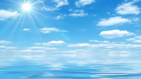 Beautiful Sea On Sunny Day With Blue Sky Reflecting In Water Animation