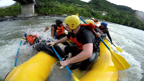 White Water Rafting Funny Moment stock footage