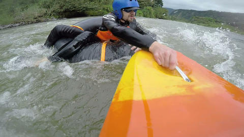 White water tubing adventurer recued by security kayaker Footage