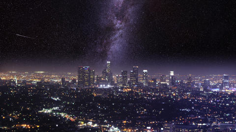 Los Angelos Night Shot Timelapse MIlky Way stock footage