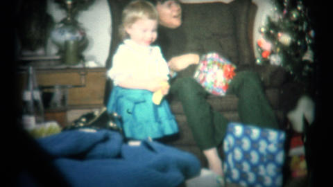 (Super 8 Film) Christmas Morning Girl Happy 1965 Footage