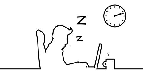 Man Sleeping And Snoring Behind His Desk. Loopable Line Art Animation Including  stock footage