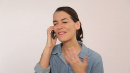 Receiving great news over the phone Footage
