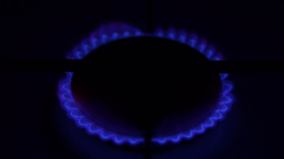Natural Gas Inflammation In Stove Burner. Concept Of Limited Resources stock footage