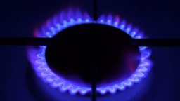 Natural Gas Inflammation In Stove Burner. Concept of limited resources Footage