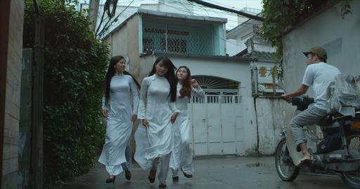 Vietnamese girls WS running Footage
