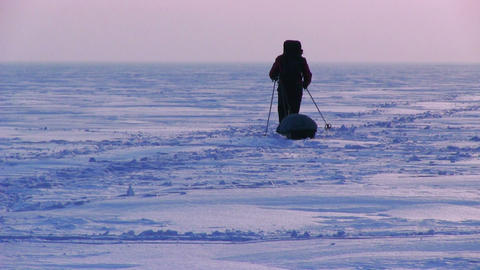 One Man In The Snow Desert stock footage