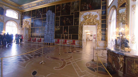 Gorgeous rooms and interiors of the Catherine Palace in St. Petersburg Footage