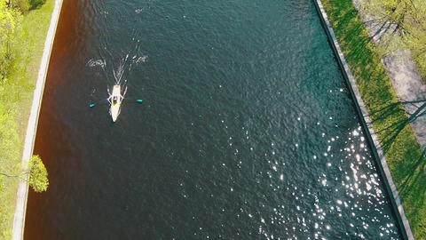 Aerial View of Kayak Floating in Canal Footage