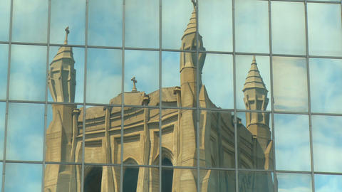 Time-lapse Reflection of a Gothic Cathedral Footage