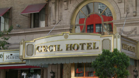 Cecil Hotel Entrance Sign stock footage