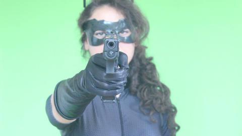 green green girl shooting with gun 5 Live Action