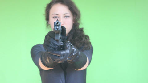 green screen girl shooting with gun 3 Footage