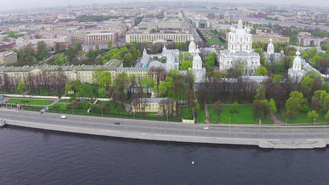 Aerial View near Smolny Cathedral Footage