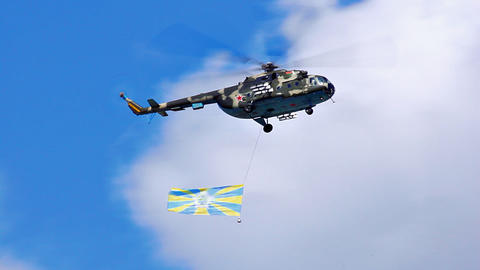 Military Mi-8 Helicopter With A Flag Of The Belarusian Air Force stock footage