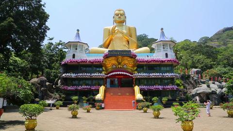 Dambula golden temple in Sri lanka Footage