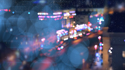 Neon And Rain At The Evening Street stock footage