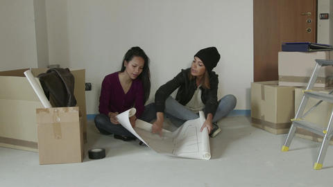 Female College Students Friends Girls Women Rent New Apartment House Footage