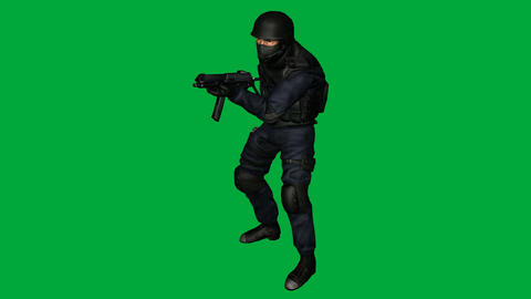 S.W.A.T. (SWAT) Man in Idle Pose: (Looping + Matte) Animation