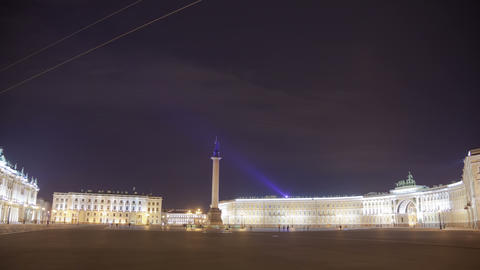 Palace Square in St. Petersburg night motion timelapse 4K Footage