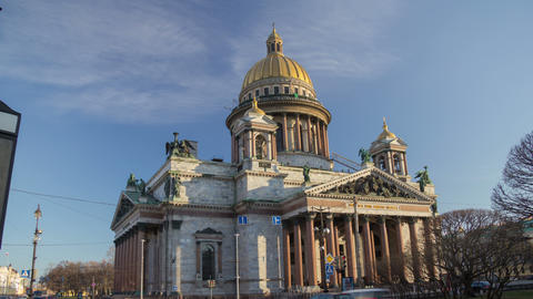 Saint Isaac's Cathedral morning motion timelapse 4K Footage