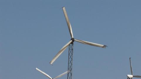Wind Powered Generators. Windmills Stock Video Footage