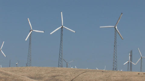 Wind Powered Generators. Windmills Footage