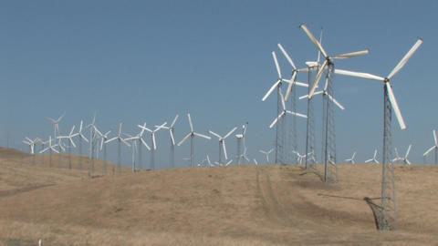 Wind Powered Generators. Windmills Stock Video Footage