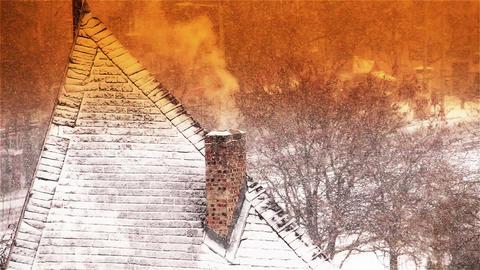 Blizzard 16 chimney stylized Stock Video Footage