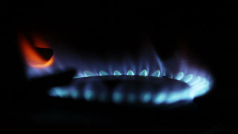 Gas Flames 03 Changing Intensity closeup Stock Video Footage