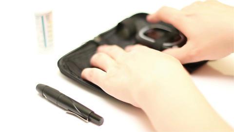 Preparing Blood Glucose Test 02 Stock Video Footage