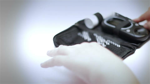 Preparing Blood Glucose Test 06 stylized Stock Video Footage