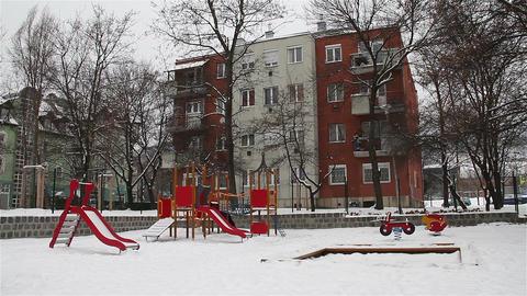 Snowy Suburb 07 playground Stock Video Footage