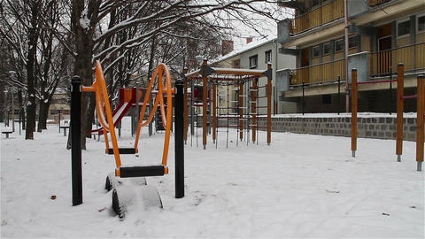 Snowy Suburb 09 playground Stock Video Footage