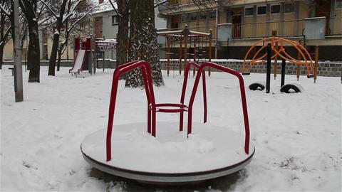 Snowy Suburb 11 playground Stock Video Footage