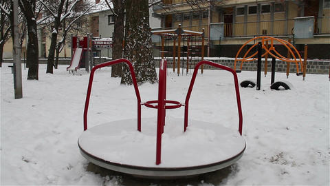 Snowy Suburb 11 playground Stock Video Footage