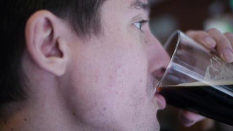 Man Drinks Beer 03 Footage