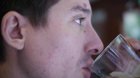 Man Drinks Beer 03 Stock Video Footage