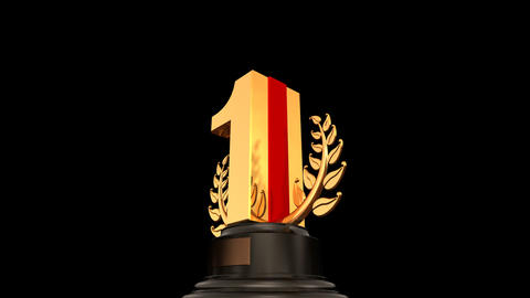 Number Trophy Prize 01a HD Stock Video Footage