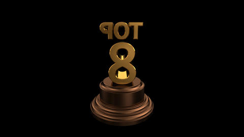 Number Trophy Top 08 HD Stock Video Footage