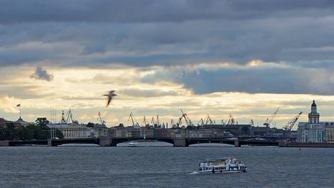 Admiralty Shipyard near Neva River Stock Video Footage
