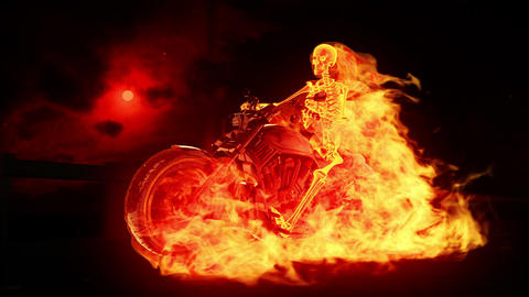 Skeleton biker on fire Animation