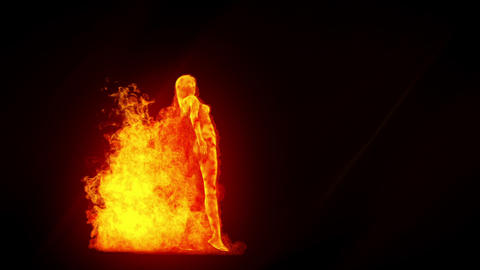 Fire girl Stock Video Footage